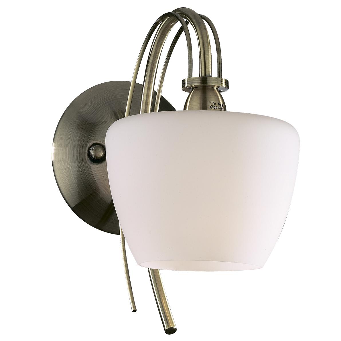 Бра Odeon lightНастенные светильники и бра<br>Тип: бра,<br>Назначение светильника: для комнаты,<br>Стиль светильника: классика,<br>Материал светильника: металл, стекло,<br>Тип лампы: накаливания,<br>Количество ламп: 1,<br>Мощность: 60,<br>Патрон: Е14,<br>Цвет арматуры: бронза,<br>Ширина: 229,<br>Высота: 250<br>