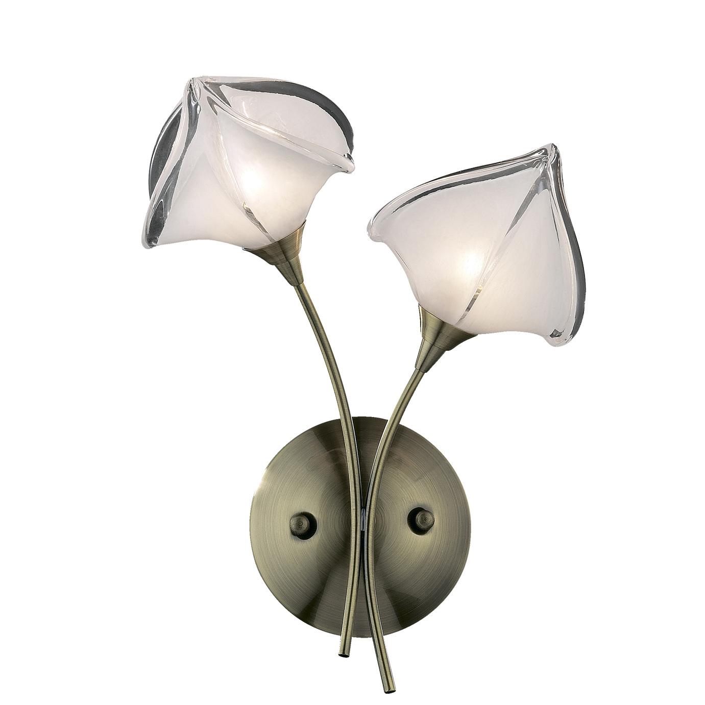 Бра Odeon lightНастенные светильники и бра<br>Тип: настенный, Назначение светильника: для комнаты, Стиль светильника: классика, Материал светильника: металл, стекло, Тип лампы: галогенная, Количество ламп: 2, Мощность: 40, Патрон: G9, Цвет арматуры: бронза, Ширина: 700, Высота: 250, Коллекция: antra<br>