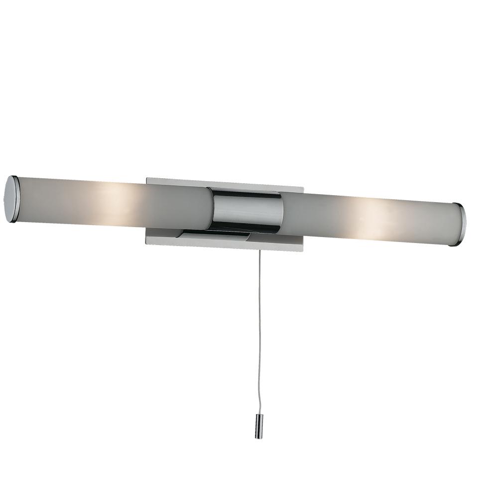 Светильник для ванной комнаты Odeon lightСветильники для ванных комнат<br>Стиль светильника: классика,<br>Назначение светильника: для ванной комнаты,<br>Материал светильника: металл, стекло,<br>Ширина: 75,<br>Длина (мм): 420,<br>Высота: 55,<br>Мощность: 40,<br>Количество ламп: 2,<br>Тип лампы: галогенная,<br>Патрон: G9,<br>Цвет арматуры: хром,<br>Коллекция: vell<br>