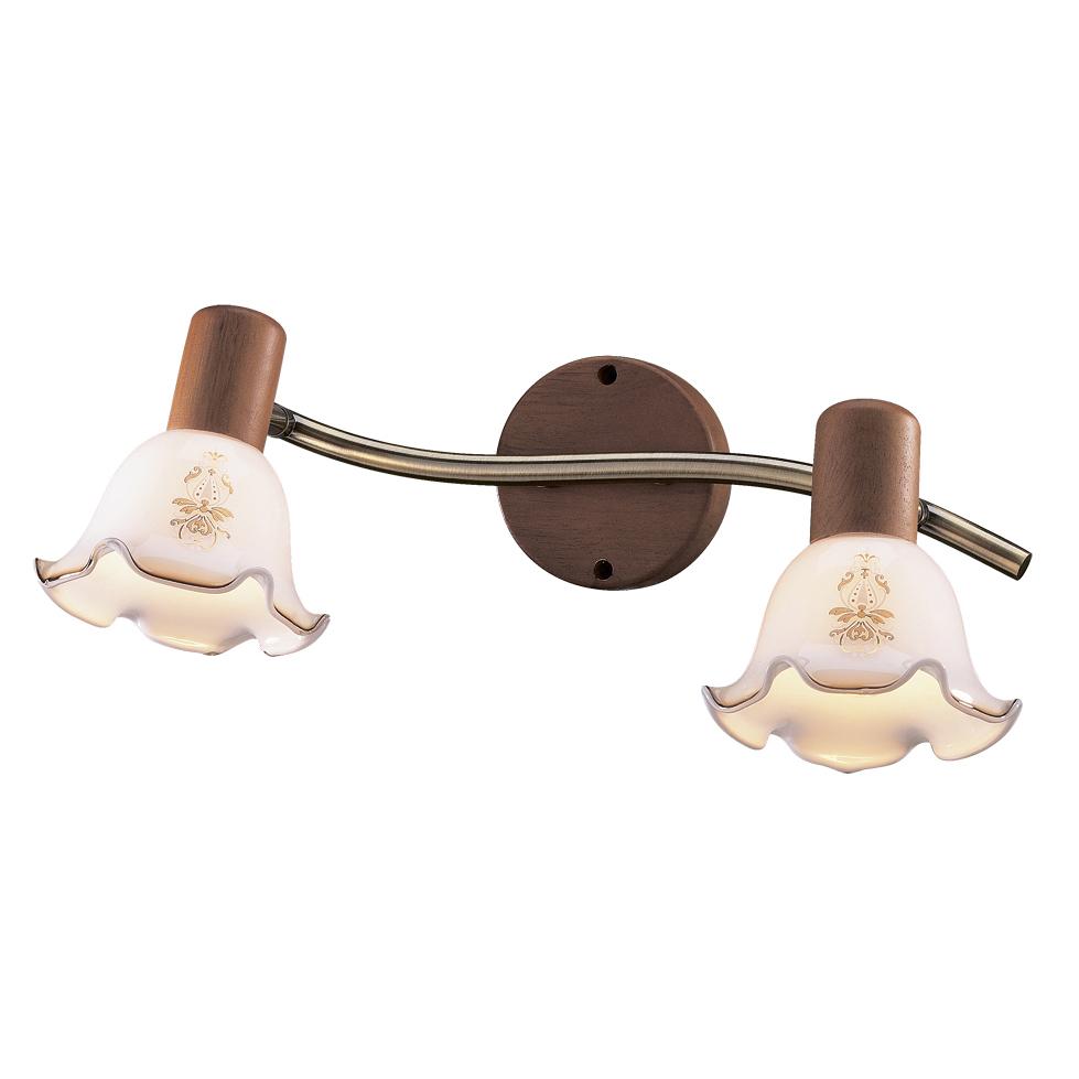 Бра Odeon lightНастенные светильники и бра<br>Тип: настенный, Назначение светильника: для комнаты, Стиль светильника: арт деко, Материал светильника: металл, дерево, стекло, Тип лампы: накаливания, Количество ламп: 2, Мощность: 40, Патрон: Е14, Цвет арматуры: бронза, Ширина: 500, Высота: 150, Коллекция: vega<br>