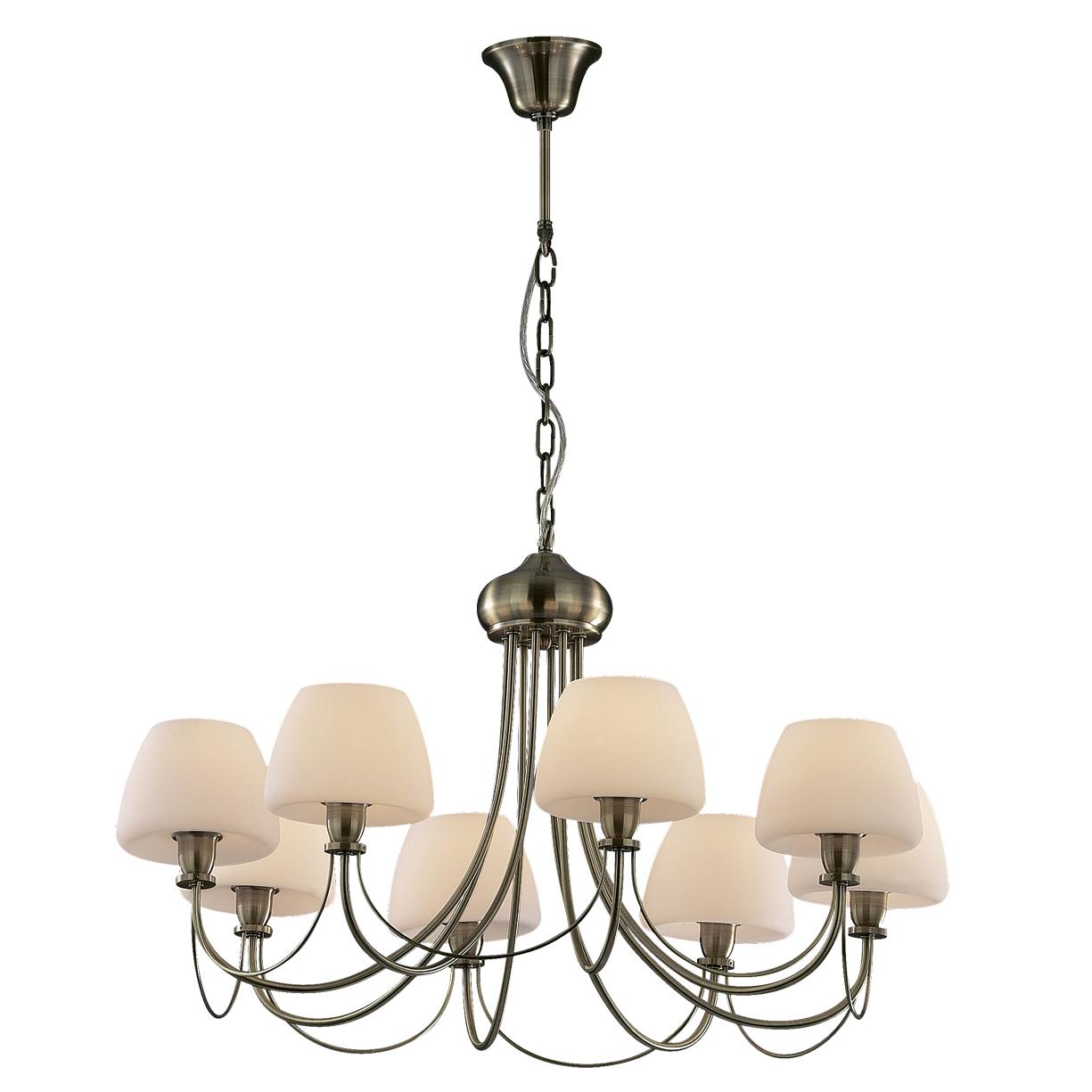Люстра Odeon lightЛюстры<br>Назначение светильника: для комнаты,<br>Стиль светильника: классика,<br>Тип: подвесная,<br>Материал светильника: металл, стекло,<br>Материал плафона: стекло,<br>Материал арматуры: металл,<br>Ширина: 740,<br>Высота: 420,<br>Количество ламп: 8,<br>Тип лампы: накаливания,<br>Мощность: 60,<br>Патрон: Е14,<br>Цвет арматуры: бронза,<br>Вес нетто: 5.7,<br>Коллекция: vesto<br>