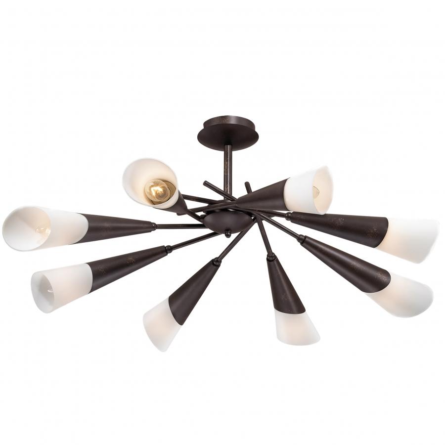 Люстра Odeon lightЛюстры<br>Назначение светильника: для комнаты,<br>Стиль светильника: модерн,<br>Тип: потолочная,<br>Материал светильника: металл, стекло,<br>Материал плафона: стекло,<br>Материал арматуры: металл,<br>Ширина: 770,<br>Высота: 350,<br>Количество ламп: 8,<br>Тип лампы: накаливания,<br>Мощность: 40,<br>Патрон: Е14,<br>Цвет арматуры: дерево<br>