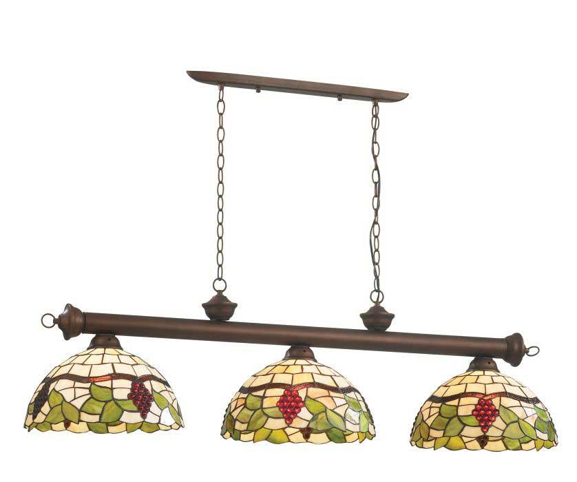 Светильник подвесной Odeon lightСветильники подвесные<br>Количество ламп: 3, Мощность: 100, Назначение светильника: для кухни, Стиль светильника: тиффани, Материал светильника: металл, стекло, Диаметр: 1320, Высота: 1100, Ширина: 1320, Тип лампы: накаливания, Патрон: Е27, Цвет арматуры: дерево, Коллекция: traube<br>