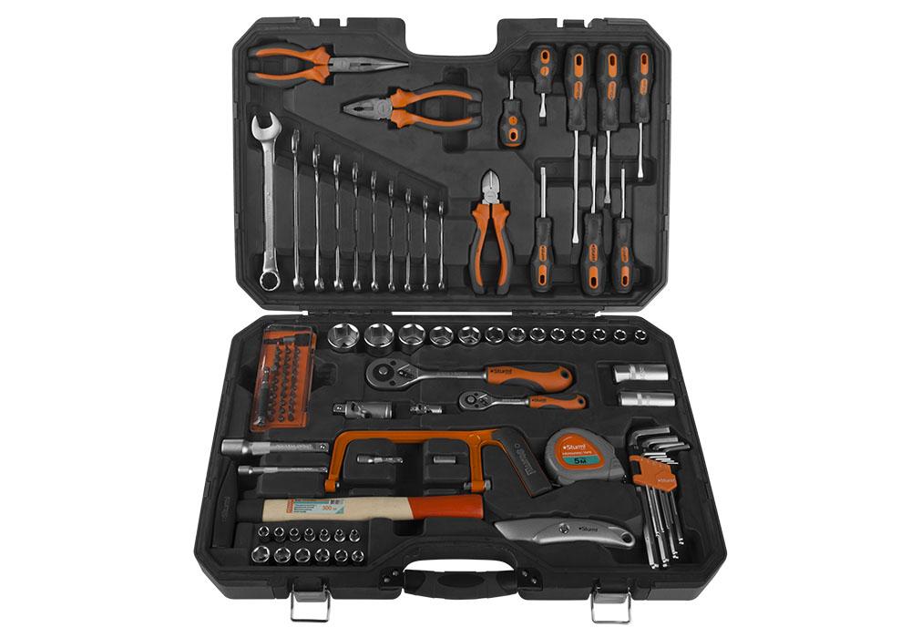 Универсальный набор инструментов Sturm!Наборы инструментов<br>Назначение: автомобильный,<br>Количество предметов в наборе: 102,<br>Тип набора: инструменты в наборе,<br>Класс: бытовой,<br>Поставляется в: кейсе,<br>Родина бренда: Россия<br>