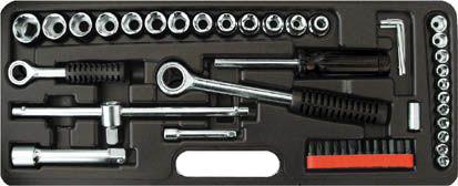 Набор инструментов в ложементе, 52 предмета FitНаборы инструментов<br>Назначение: универсальный, Количество предметов в наборе: 52, Тип набора: инструменты в наборе, Присоединительный размер: 1/2, 1/4  , Класс: бытовой, Поставляется в: кейсе, Родина бренда: Канада<br>