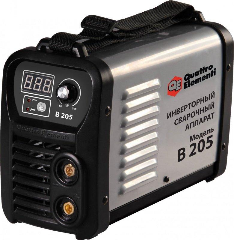 Сварочный инвертор Quattro elementiСварочное оборудование<br>Макс. сварочный ток: 205,<br>Мощность: 5900,<br>Мощность полная: 5900,<br>Напряжение: 220,<br>Мин. входное напряжение: 198,<br>Выходной ток: 10-185,<br>Напряжение холостого хода: 85,<br>Мин. диаметр электрода: 1.6,<br>Макс. диаметр электрода: 4,<br>Тип сварочного аппарата: инверторный,<br>Тип сварки: дуговая (электродом, MMA),<br>Инверторная технология: есть,<br>Поставляется в: кейсе,<br>Вес нетто: 5.3,<br>Страна происхождения: Италия<br>