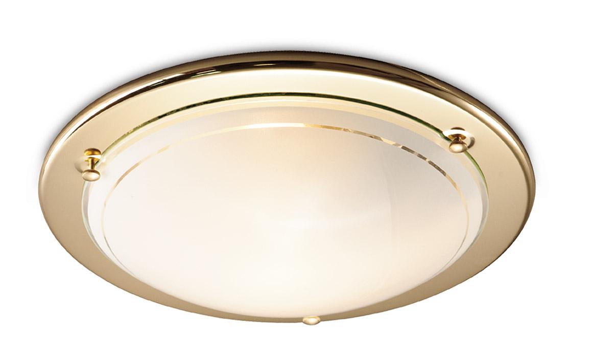 Светильник настенно-потолочный СОНЕКССветильники настенно-потолочные<br>Мощность: 100,<br>Количество ламп: 2,<br>Назначение светильника: для комнаты,<br>Стиль светильника: модерн,<br>Материал светильника: металл, стекло,<br>Тип лампы: накаливания,<br>Диаметр: 380,<br>Патрон: Е27,<br>Цвет арматуры: золото<br>