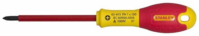 Отвертка диэлектрическая крестовая StanleyОтвертки<br>Тип наконечника: PH (крест), Тип отвертки: диэлектрическая, Длина (мм): 125<br>