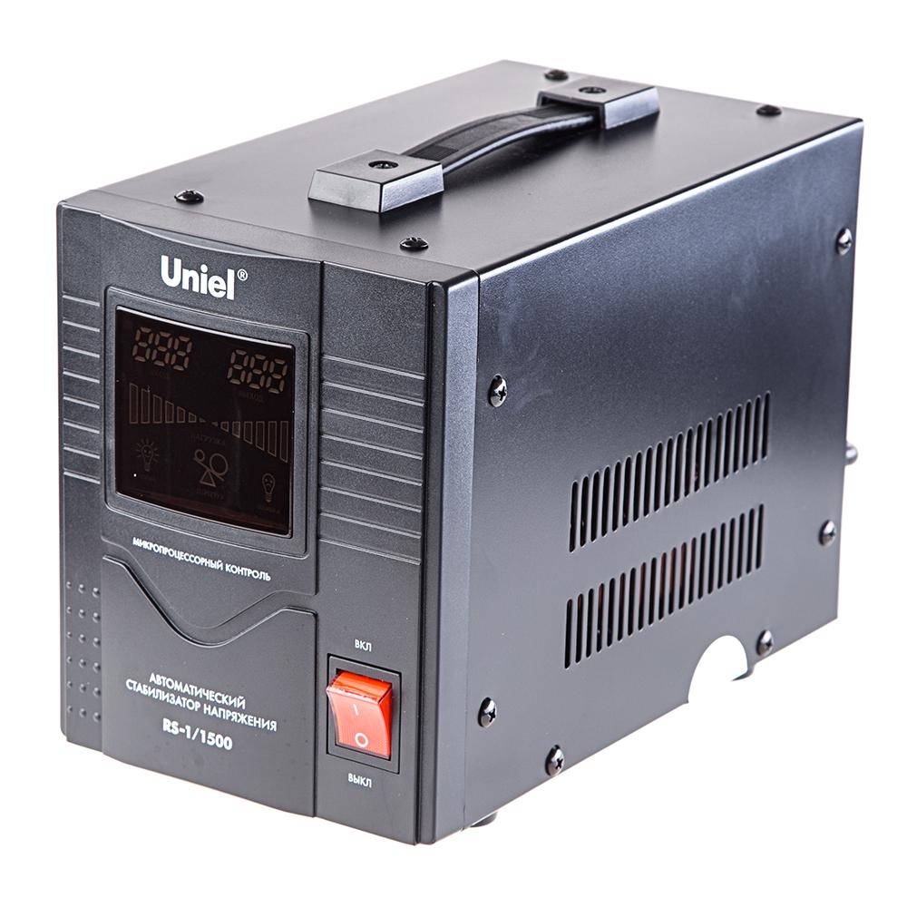 Стабилизатор напряжения UnielСтабилизаторы и ИБП<br>Мощность полная: 1000,<br>Мощность: 1500,<br>Тип: однофазный стабилизатор,<br>Тип стабилизатора: электронный (релейный),<br>Тип установки: напольный,<br>Мин. входное напряжение: 140,<br>Макс. входное напряжение: 260,<br>Выходное напряжение: 220,<br>Дисплей: цифровой,<br>Выходной ток: 10<br>