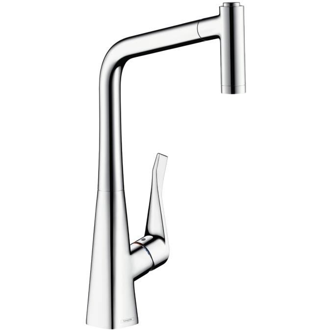 Смеситель для кухни с душем HansgroheСмесители<br>Назначение смесителя: для кухонной мойки,<br>Выдвижной душ: есть,<br>Тип управления смесителя: однорычажный,<br>Цвет покрытия: хром,<br>Стиль смесителя: модерн,<br>Монтаж смесителя: горизонтальный,<br>Тип установки смесителя: на мойку (раковину),<br>Материал смесителя: латунь,<br>Излив: выдвижной,<br>Родина бренда: Германия<br>