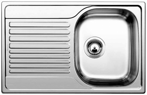 Мойка кухонная из нержавеющей стали BlancoМойки кухонные<br>Тип установки кухонной мойки: врезной,<br>Материал изготовления кухонной мойки: нержавеющая сталь,<br>Отверстие под смеситель: нет,<br>Форма кухонной мойки: прямоугольная,<br>Количество чаш кухонной мойки: одна чаша,<br>Длина (мм): 780,<br>Ширина: 500,<br>Глубина: 170,<br>Цвет: сталь,<br>Наличие крыла: есть,<br>Страна происхождения: Германия,<br>Диаметр сливного отверстия: 3 1/2<br>
