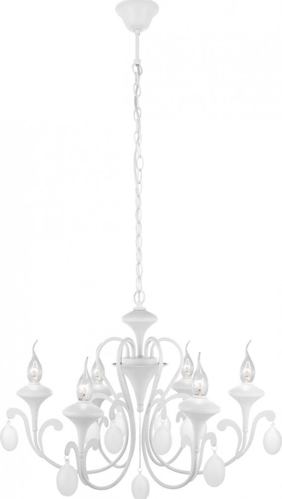 Люстра Arte lampЛюстры<br>Назначение светильника: для комнаты,<br>Стиль светильника: модерн,<br>Тип: подвесная,<br>Материал светильника: металл,<br>Материал арматуры: металл,<br>Диаметр: 690,<br>Высота: 600,<br>Количество ламп: 6,<br>Тип лампы: накаливания,<br>Мощность: 40,<br>Патрон: Е14,<br>Цвет арматуры: белый<br>