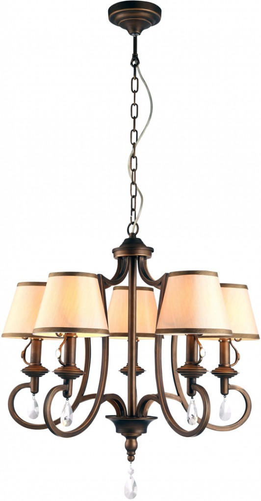 Люстра Arte lampЛюстры<br>Назначение светильника: для комнаты,<br>Стиль светильника: модерн,<br>Тип: подвесная,<br>Материал светильника: металл, ткань, хрусталь,<br>Материал плафона: ткань,<br>Материал арматуры: металл,<br>Диаметр: 620,<br>Высота: 1150,<br>Количество ламп: 5,<br>Тип лампы: накаливания,<br>Мощность: 40,<br>Патрон: Е14,<br>Цвет арматуры: медь<br>