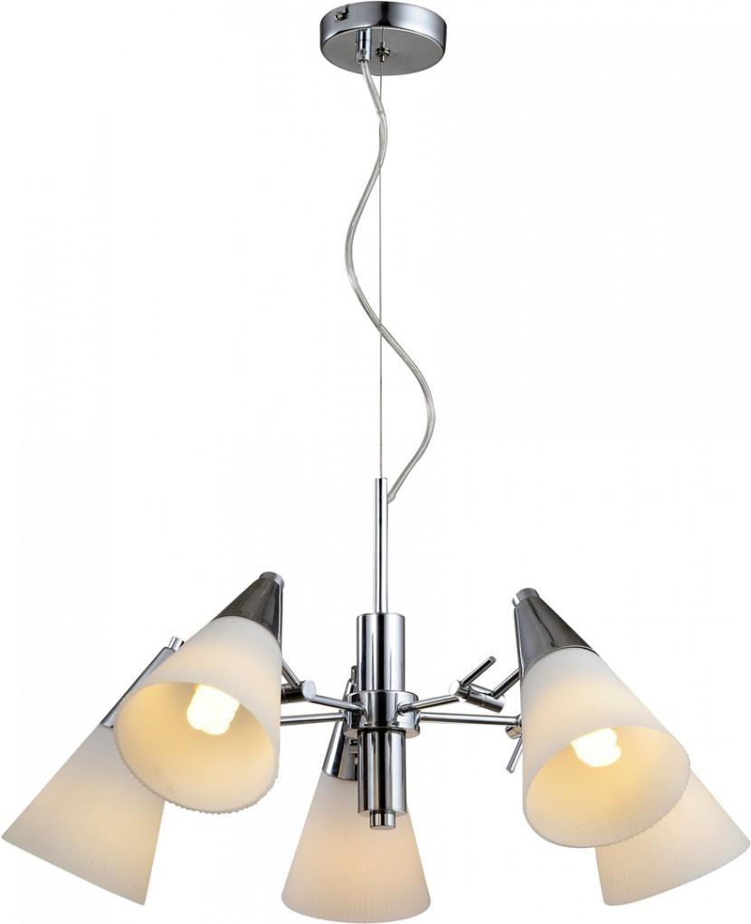 Люстра Arte lampЛюстры<br>Назначение светильника: для комнаты,<br>Стиль светильника: модерн,<br>Тип: потолочная,<br>Материал светильника: металл, стекло,<br>Материал плафона: стекло,<br>Материал арматуры: металл,<br>Диаметр: 620,<br>Высота: 1000,<br>Количество ламп: 5,<br>Тип лампы: накаливания,<br>Мощность: 60,<br>Патрон: Е14,<br>Цвет арматуры: хром,<br>Коллекция: 9517<br>