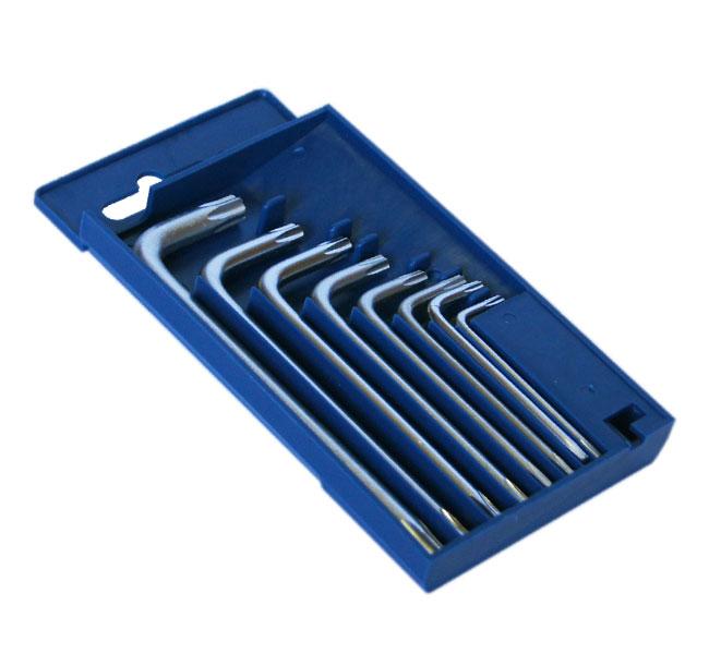 Набор шестигранных ключей (звездочка torx) угловых, 8 шт. SantoolКлючи имбусовые<br>Тип набора: ключи имбусовые,<br>Ключей в наборе: 8,<br>Набор: есть<br>