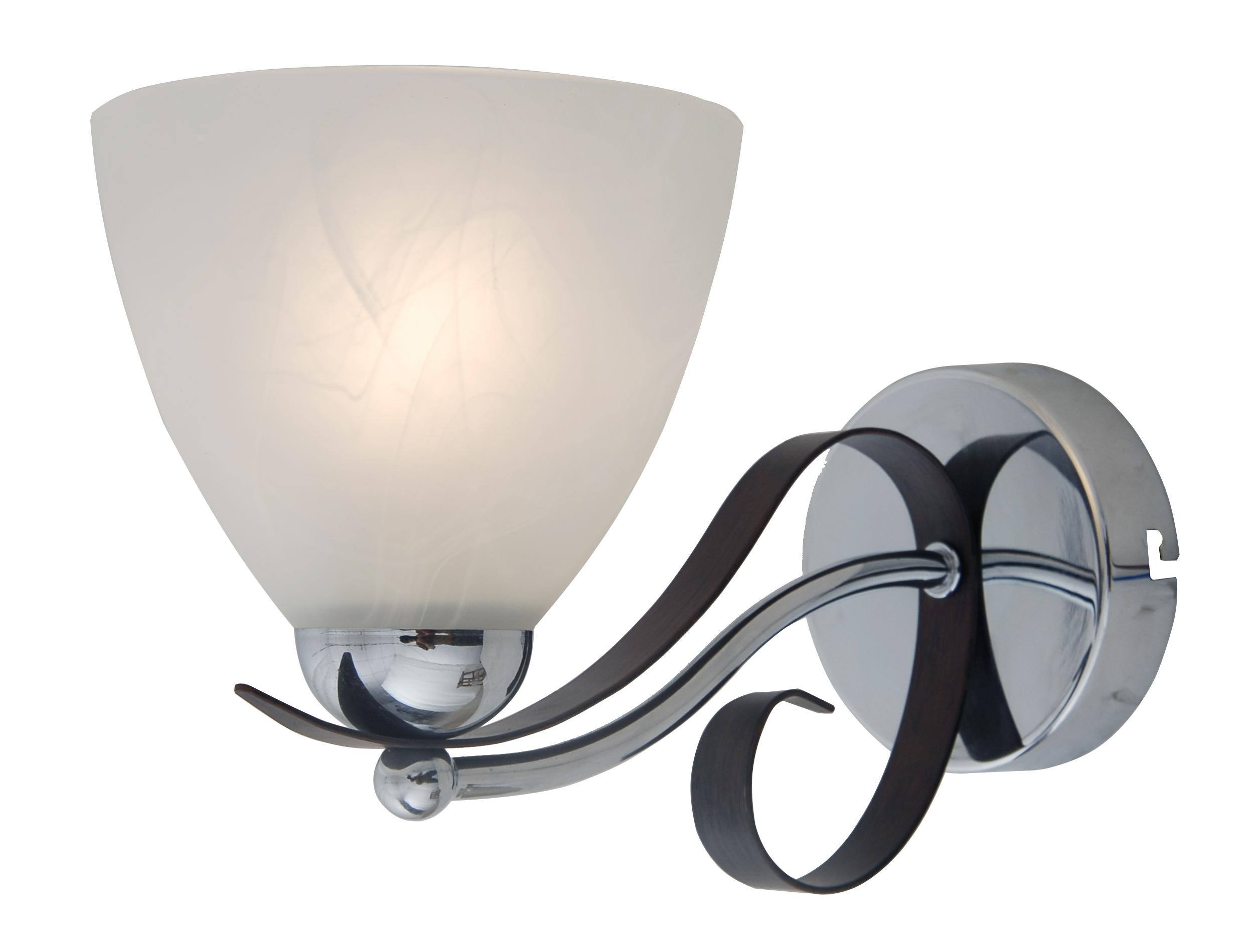 Бра LamplandiaНастенные светильники и бра<br>Тип: бра,<br>Назначение светильника: для комнаты,<br>Стиль светильника: модерн,<br>Материал светильника: металл, стекло,<br>Количество ламп: 1,<br>Мощность: 60,<br>Патрон: Е27,<br>Цвет арматуры: хром,<br>Длина (мм): 250,<br>Ширина: 140,<br>Высота: 170<br>