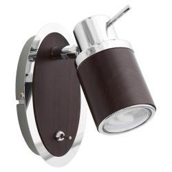Спот LamplandiaСпоты<br>Тип: спот,<br>Стиль светильника: модерн,<br>Материал светильника: дерево, металл,<br>Количество ламп: 1,<br>Тип лампы: галогенная,<br>Мощность: 9,<br>Патрон: GU10,<br>Цвет арматуры: хром,<br>Ширина: 120,<br>Длина (мм): 80,<br>Высота: 120<br>