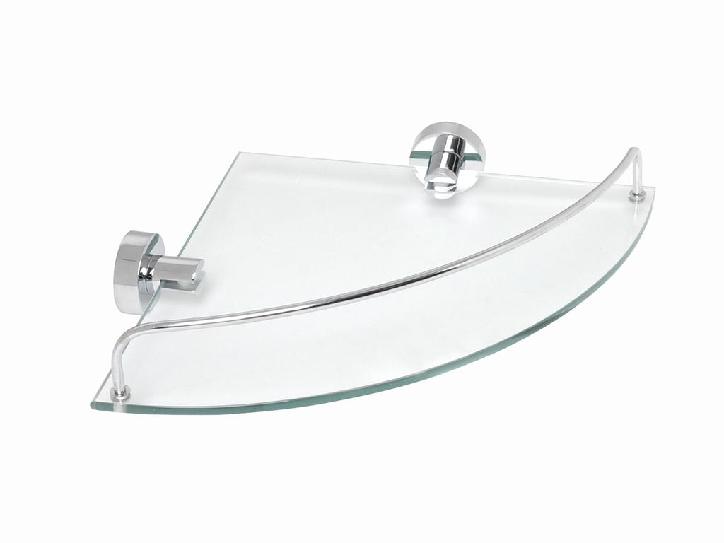 Полка для ванной комнаты стеклянная угловая Fixsen