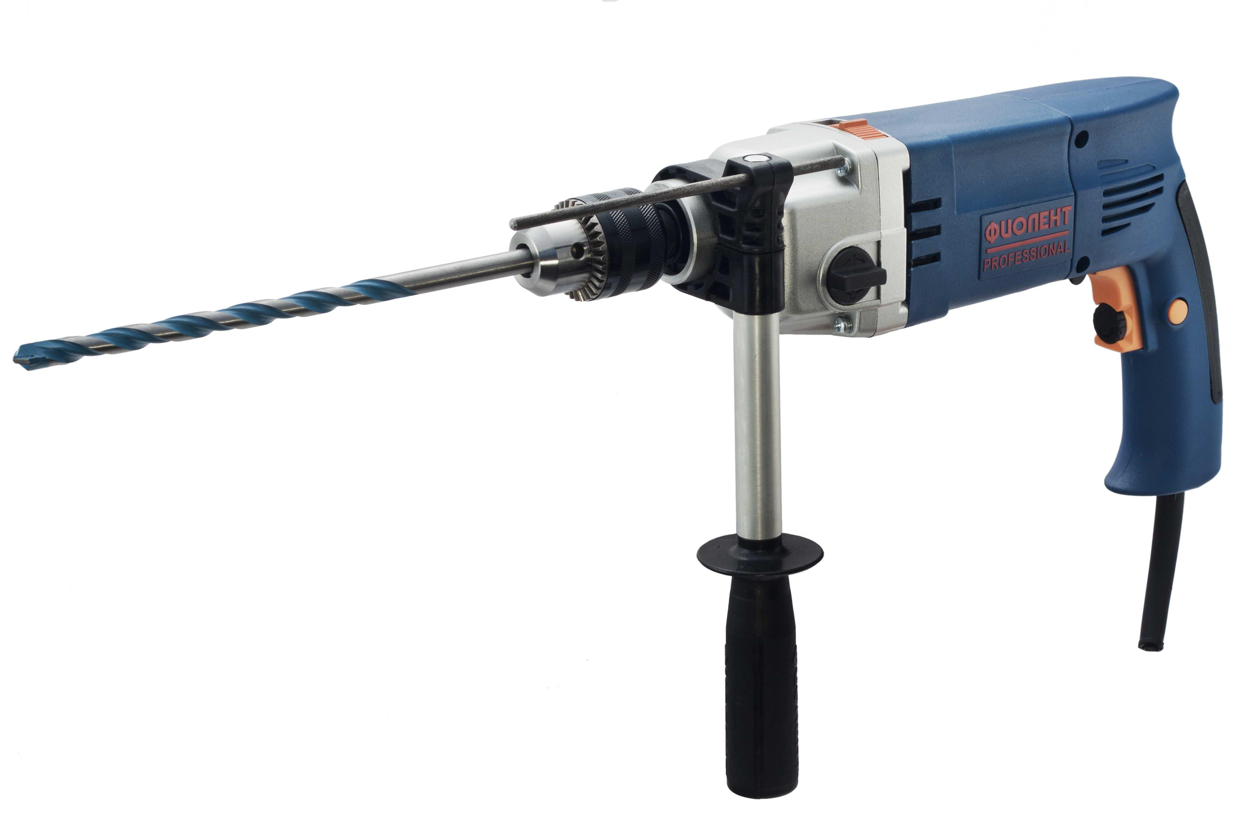 Дрель ударная ФИОЛЕНТДрели ударные<br>Мощность: 1050,<br>Скорости: 2,<br>Обороты: 0-800/0-2000,<br>Макс. обороты: 2000,<br>Диаметр патрона: 16,<br>Тип патрона: ключевой,<br>Макс. диаметр сверления (металл): 16,<br>Макс. диаметр сверления (дерево): 30,<br>Макс. диаметр сверления (камень): 24,<br>Две и более механических скоростей: есть,<br>Электронная регулировка числа оборотов: есть,<br>Реверс: есть,<br>Вес нетто: 2.4,<br>Поставляется в: кейсе,<br>Страна происхождения: Россия<br>