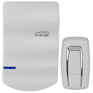 Звонок ЭРАЗвонки<br>Тип: звонок,<br>Тип звонка: беспроводной,<br>Количество мелодий: 25,<br>Радиус действия: 100,<br>Цвет: белый,<br>Источники питания: AA,<br>Степень защиты от пыли и влаги: IP 44,<br>Световая индикация: есть<br>