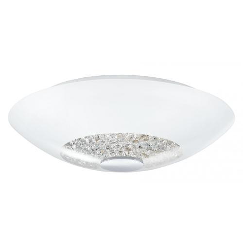 Люстра EgloЛюстры<br>Назначение светильника: для гостиной,<br>Стиль светильника: модерн,<br>Тип: потолочная,<br>Материал светильника: металл,<br>Материал плафона: стекло,<br>Материал арматуры: металл,<br>Диаметр: 420,<br>Высота: 125,<br>Количество ламп: 2,<br>Тип лампы: накаливания,<br>Мощность: 60,<br>Патрон: Е27,<br>Цвет арматуры: хром<br>