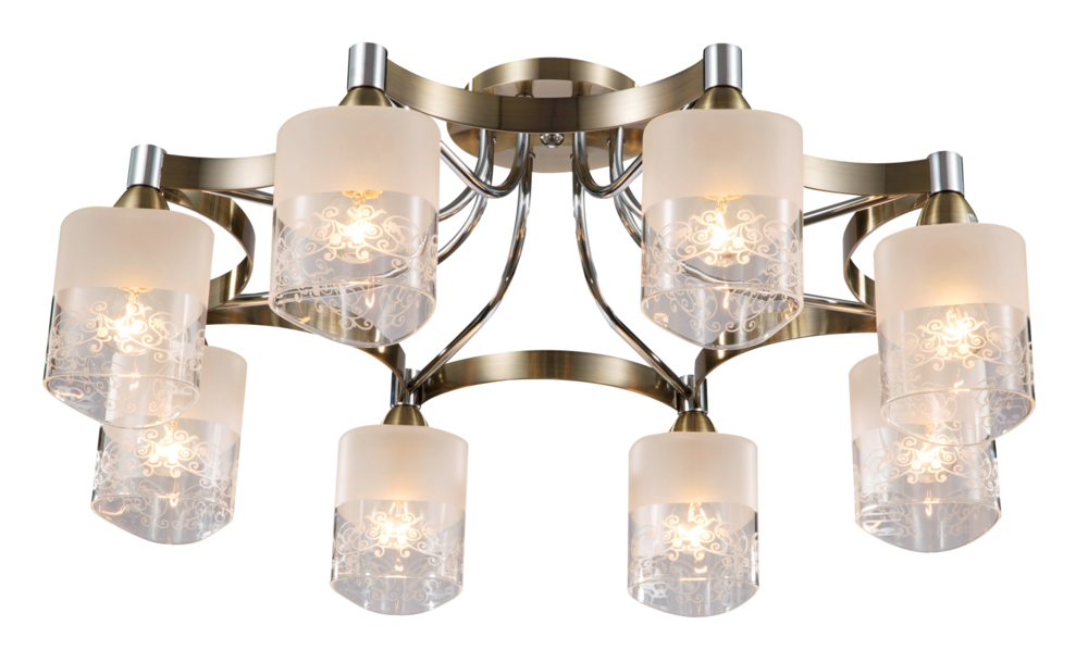Люстра MaytoniЛюстры<br>Назначение светильника: для гостиной, Стиль светильника: модерн, Тип: потолочная, Материал светильника: металл, стекло, Материал плафона: стекло, Материал арматуры: металл, Диаметр: 550, Высота: 252, Количество ламп: 8, Тип лампы: накаливания, Мощность: 60, Патрон: Е14, Цвет арматуры: хром, Родина бренда: Германия, Коллекция: toc003<br>