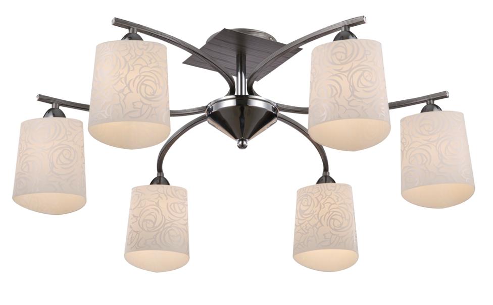 Люстра MaytoniЛюстры<br>Назначение светильника: для гостиной, Стиль светильника: модерн, Тип: потолочная, Материал светильника: металл, стекло, Материал плафона: стекло, Материал арматуры: металл, Диаметр: 755, Высота: 300, Количество ламп: 6, Тип лампы: накаливания, Мощность: 60, Патрон: Е14, Цвет арматуры: хром, Родина бренда: Германия, Коллекция: toc005<br>