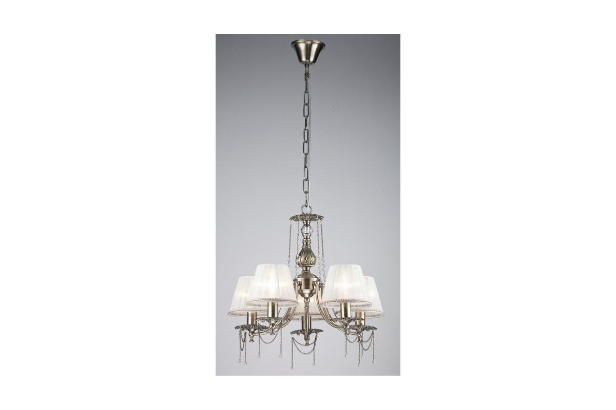 Люстра MaytoniЛюстры<br>Назначение светильника: для гостиной, Стиль светильника: классика, Тип: подвесная, Материал светильника: металл, ткань, Материал плафона: ткань, Материал арматуры: металл, Диаметр: 560, Высота: 520, Количество ламп: 5, Тип лампы: накаливания, Мощность: 40, Патрон: Е14, Цвет арматуры: бронза, Родина бренда: Германия, Коллекция: arm305<br>