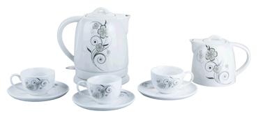 Чайник VesЧайники и термопоты<br>Тип: чайный набор,<br>Мощность: 1500,<br>Объем: 1.5,<br>Цвет: белый,<br>Нагревательный элемент: дисковый,<br>Материал: керамика,<br>Подсветка: есть<br>