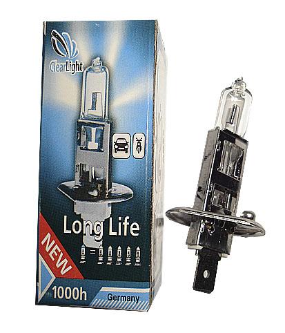 Лампа головного света ClearlightЛампы автомобильные<br>Тип лампы: галогенная,<br>Типоразмер: H1,<br>Мощность: 55,<br>Напряжение: 12,<br>Назначение автомобильной лампы: головной свет<br>