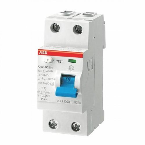 УЗО AbbАвтоматические выключатели<br>Номинальный ток: 63,<br>Тип выключателя: УЗО,<br>Количество полюсов: 2,<br>Номинальная отключающая способность: 6000,<br>Номинальный отключающий дифференциальный ток: 30,<br>Степень защиты от пыли и влаги: IP 20,<br>Количество модулей: 2<br>