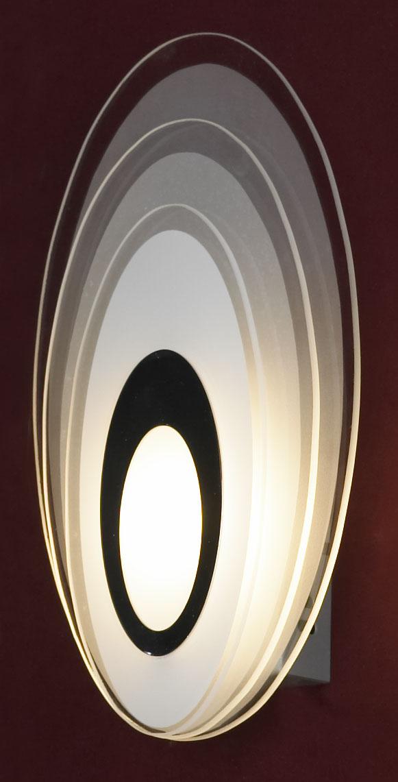 Бра LussoleНастенные светильники и бра<br>Тип: настенный, Назначение светильника: для комнаты, Стиль светильника: модерн, Материал светильника: металл, стекло, Тип лампы: светодиодная, Количество ламп: 1, Мощность: 5, Патрон: LED, Цвет арматуры: хром, Ширина: 160<br>