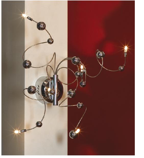 Бра LussoleНастенные светильники и бра<br>Тип: настенный,<br>Назначение светильника: для комнаты,<br>Стиль светильника: модерн,<br>Материал светильника: металл, стекло,<br>Тип лампы: галогенная,<br>Количество ламп: 5,<br>Мощность: 20,<br>Патрон: G4,<br>Цвет арматуры: никель<br>