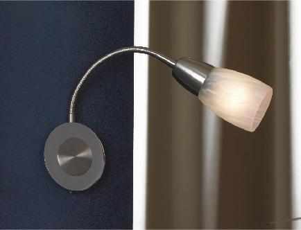 Бра LussoleНастенные светильники и бра<br>Тип: бра,<br>Назначение светильника: для комнаты,<br>Стиль светильника: модерн,<br>Материал светильника: металл, стекло,<br>Тип лампы: накаливания,<br>Количество ламп: 1,<br>Мощность: 40,<br>Патрон: Е14,<br>Цвет арматуры: никель,<br>Ширина: 90<br>