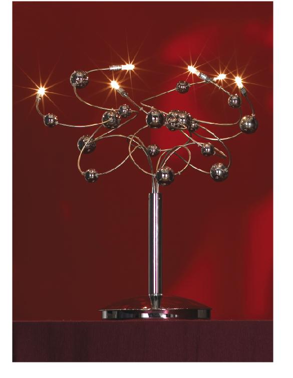 Лампа настольная LussoleЛампы настольные<br>Тип настольной лампы: декоративная,<br>Назначение светильника: для комнаты,<br>Стиль светильника: модерн,<br>Материал светильника: металл, стекло,<br>Ширина: 350,<br>Количество ламп: 6,<br>Тип лампы: галогенная,<br>Мощность: 10,<br>Патрон: G4,<br>Цвет арматуры: никель<br>