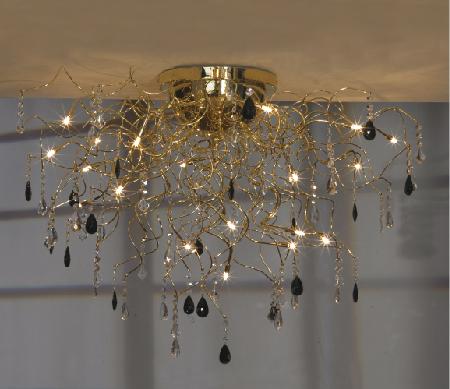 Люстра LussoleЛюстры<br>Назначение светильника: для гостиной, Стиль светильника: модерн, Тип: потолочная, Материал светильника: металл, стекло, Материал арматуры: металл, Длина (мм): 630, Ширина: 1000, Количество ламп: 19, Тип лампы: галогенная, Мощность: 20, Патрон: G4, Цвет арматуры: золото, Родина бренда: Италия<br>