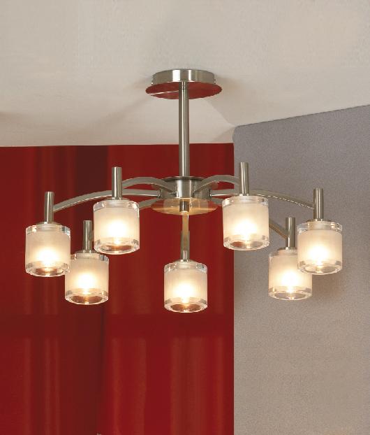 Люстра LussoleЛюстры<br>Назначение светильника: для гостиной,<br>Стиль светильника: модерн,<br>Тип: потолочная,<br>Материал светильника: металл, стекло,<br>Материал плафона: стекло,<br>Материал арматуры: металл,<br>Длина (мм): 330,<br>Ширина: 490,<br>Количество ламп: 7,<br>Тип лампы: галогенная,<br>Мощность: 40,<br>Патрон: G9,<br>Цвет арматуры: никель<br>