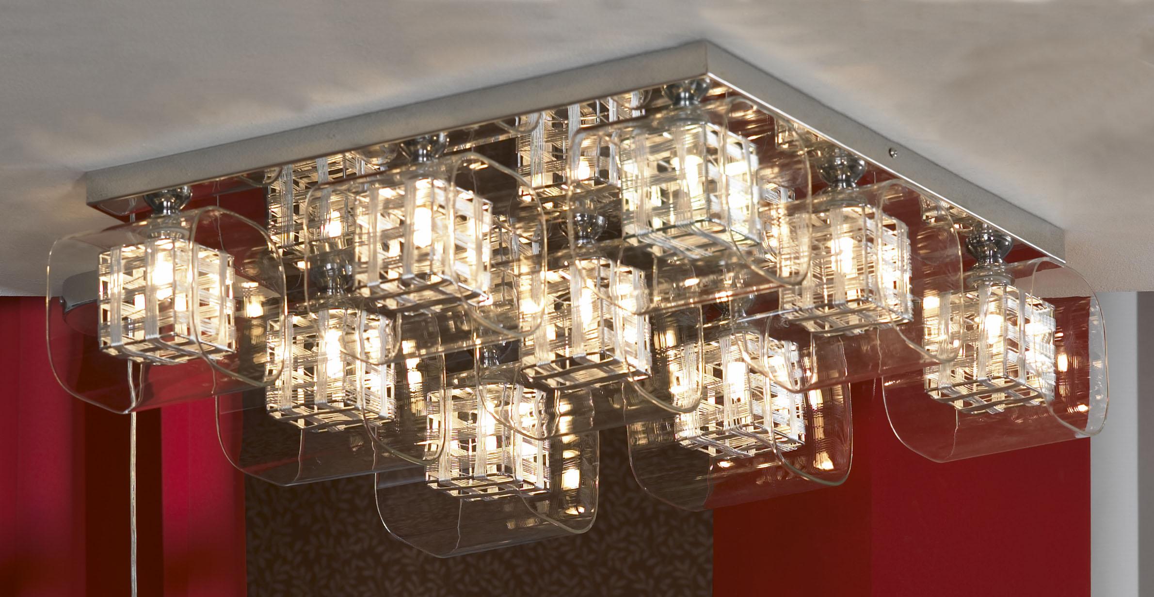 Люстра LussoleЛюстры<br>Назначение светильника: для гостиной,<br>Стиль светильника: модерн,<br>Тип: потолочная,<br>Материал светильника: металл, стекло,<br>Материал арматуры: металл,<br>Длина (мм): 160,<br>Ширина: 530,<br>Количество ламп: 9,<br>Тип лампы: галогенная,<br>Мощность: 40,<br>Патрон: G9,<br>Цвет арматуры: хром<br>