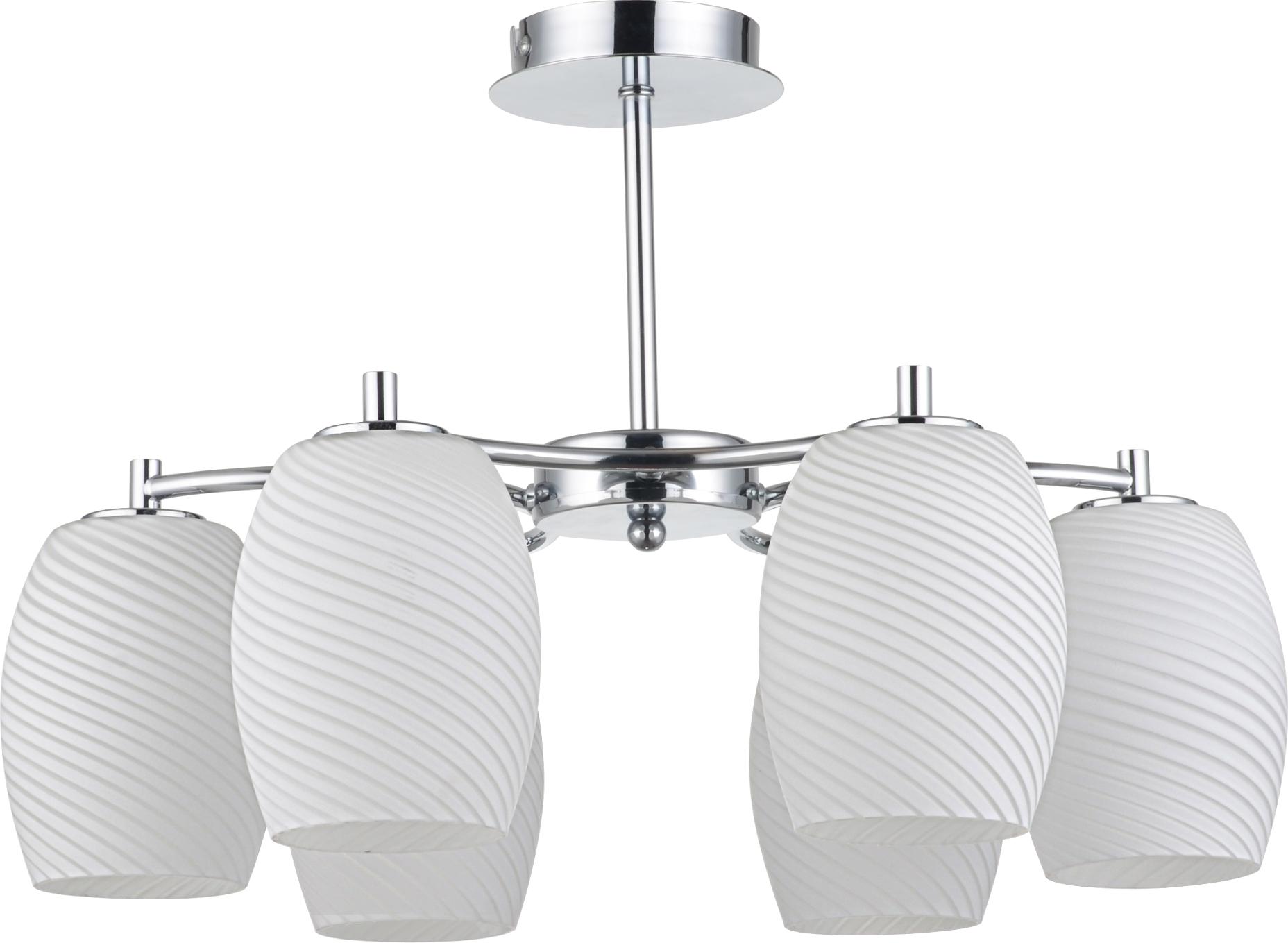 Люстра LussoleЛюстры<br>Назначение светильника: для комнаты,<br>Стиль светильника: модерн,<br>Тип: потолочная,<br>Материал светильника: металл, стекло,<br>Материал плафона: стекло,<br>Материал арматуры: металл,<br>Длина (мм): 350,<br>Ширина: 480,<br>Количество ламп: 6,<br>Тип лампы: накаливания,<br>Мощность: 40,<br>Патрон: Е14,<br>Цвет арматуры: хром<br>