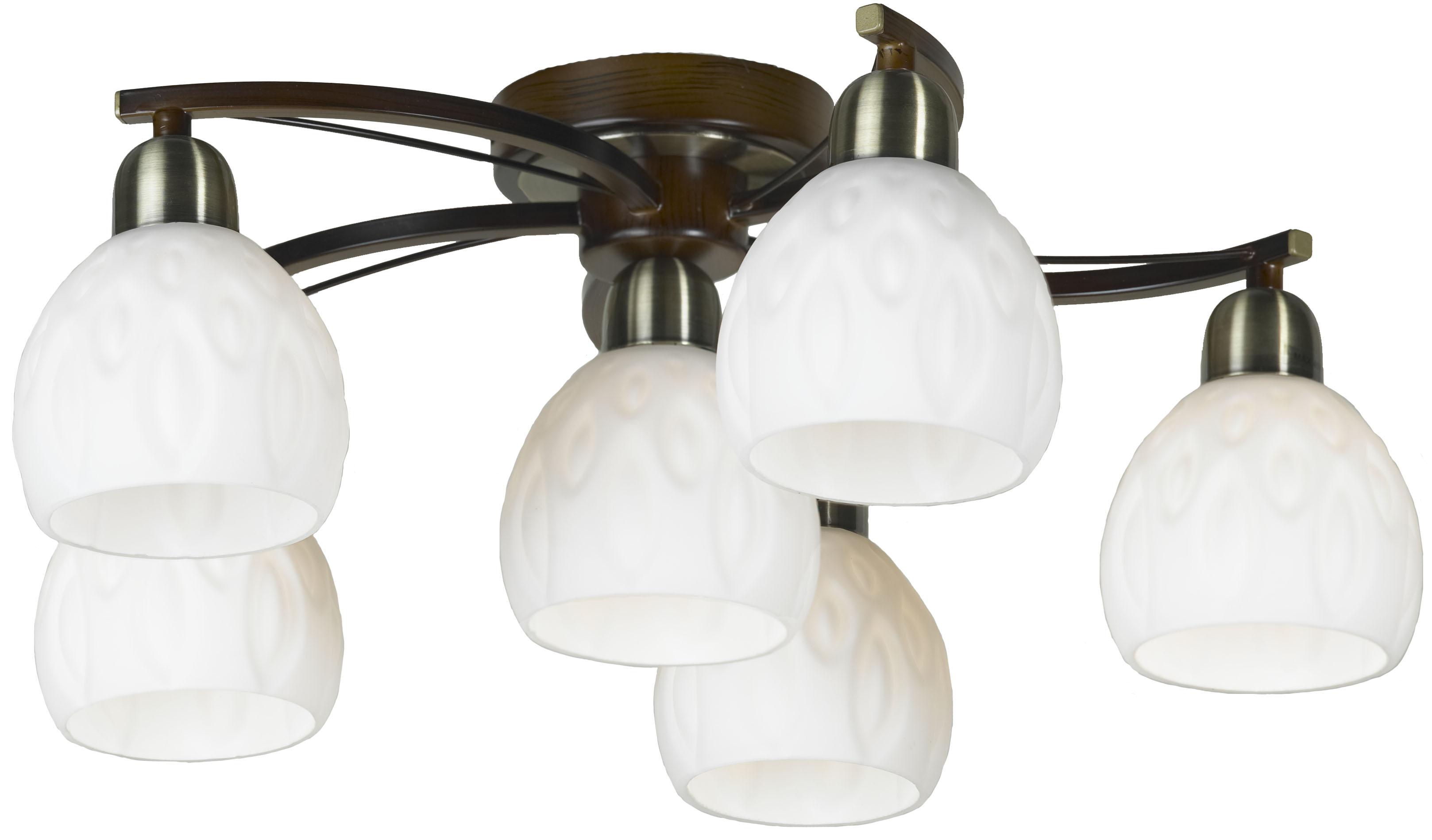 Люстра LussoleЛюстры<br>Назначение светильника: для комнаты,<br>Стиль светильника: модерн,<br>Тип: потолочная,<br>Материал светильника: металл, стекло,<br>Материал плафона: стекло,<br>Материал арматуры: металл,<br>Длина (мм): 200,<br>Ширина: 520,<br>Количество ламп: 6,<br>Тип лампы: накаливания,<br>Мощность: 40,<br>Патрон: Е14,<br>Цвет арматуры: бронза<br>