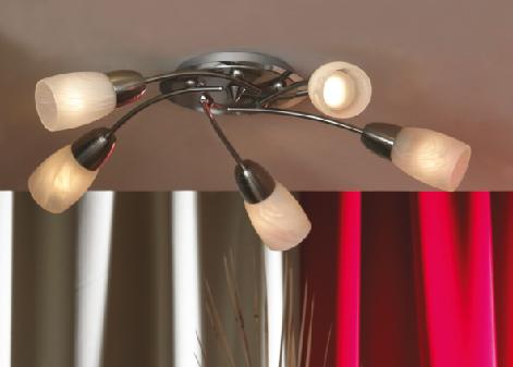 Люстра LussoleЛюстры<br>Назначение светильника: для комнаты,<br>Стиль светильника: модерн,<br>Тип: потолочная,<br>Материал светильника: металл, стекло,<br>Материал плафона: стекло,<br>Материал арматуры: металл,<br>Длина (мм): 140,<br>Ширина: 540,<br>Количество ламп: 5,<br>Тип лампы: накаливания,<br>Мощность: 40,<br>Патрон: Е14,<br>Цвет арматуры: никель<br>