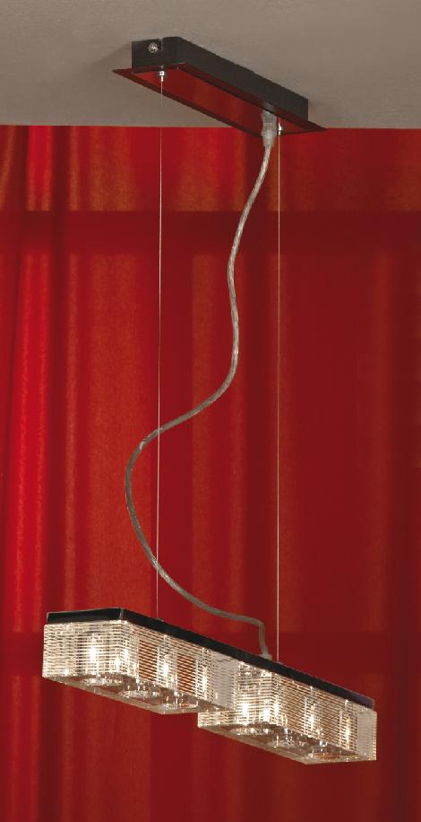 Подвес LussoleСветильники подвесные<br>Количество ламп: 6,<br>Мощность: 40,<br>Назначение светильника: для комнаты,<br>Стиль светильника: модерн,<br>Материал светильника: металл, стекло,<br>Длина (мм): 1100,<br>Ширина: 560,<br>Тип лампы: галогенная,<br>Патрон: G9,<br>Цвет арматуры: хром<br>
