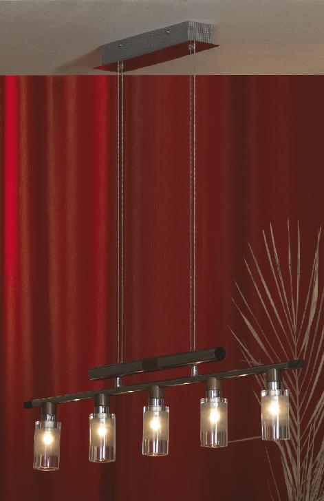 Подвес LussoleСветильники подвесные<br>Количество ламп: 5,<br>Мощность: 20,<br>Назначение светильника: для комнаты,<br>Стиль светильника: модерн,<br>Материал светильника: металл, стекло,<br>Длина (мм): 1550,<br>Ширина: 860,<br>Тип лампы: галогенная,<br>Патрон: G4,<br>Цвет арматуры: хром<br>