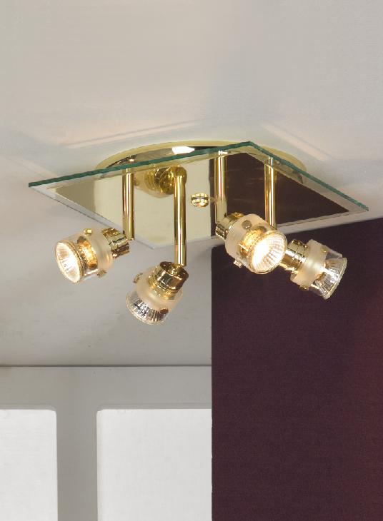 Спот LussoleСпоты<br>Тип: спот,<br>Стиль светильника: модерн,<br>Материал светильника: металл, стекло,<br>Количество ламп: 4,<br>Тип лампы: галогенная,<br>Мощность: 50,<br>Патрон: GU10,<br>Цвет арматуры: золото,<br>Ширина: 250,<br>Длина (мм): 100<br>