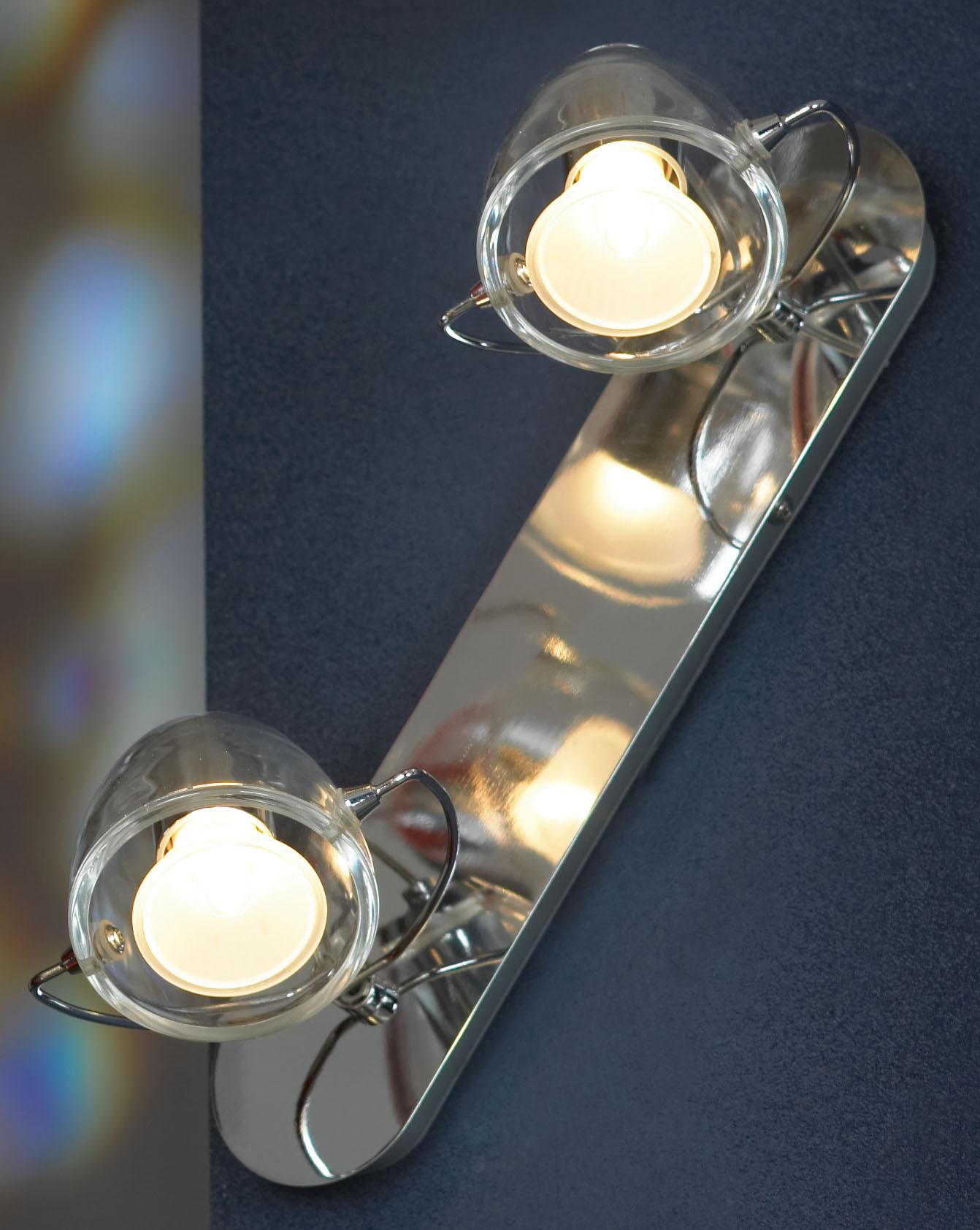 Спот LussoleСпоты<br>Тип: спот, Стиль светильника: модерн, Материал светильника: металл, стекло, Количество ламп: 2, Тип лампы: галогенная, Мощность: 50, Патрон: GU10, Цвет арматуры: хром, Ширина: 100<br>