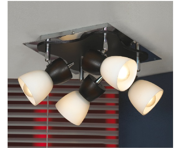 Спот LussoleСпоты<br>Тип: спот,<br>Стиль светильника: модерн,<br>Материал светильника: металл, стекло,<br>Количество ламп: 4,<br>Тип лампы: накаливания,<br>Мощность: 40,<br>Патрон: Е14,<br>Цвет арматуры: хром,<br>Ширина: 250,<br>Длина (мм): 180<br>