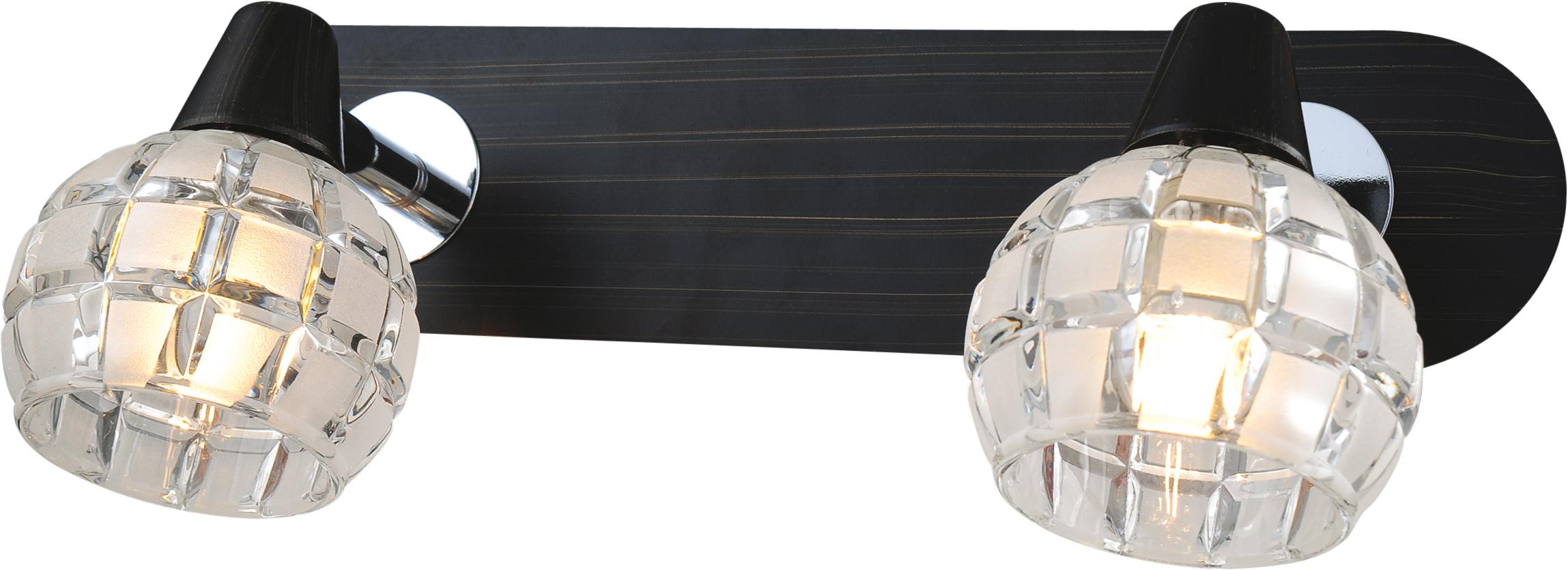 Спот LussoleСпоты<br>Тип: спот,<br>Стиль светильника: модерн,<br>Материал светильника: металл, стекло,<br>Количество ламп: 2,<br>Тип лампы: галогенная,<br>Мощность: 40,<br>Патрон: G9,<br>Цвет арматуры: хром,<br>Ширина: 110<br>