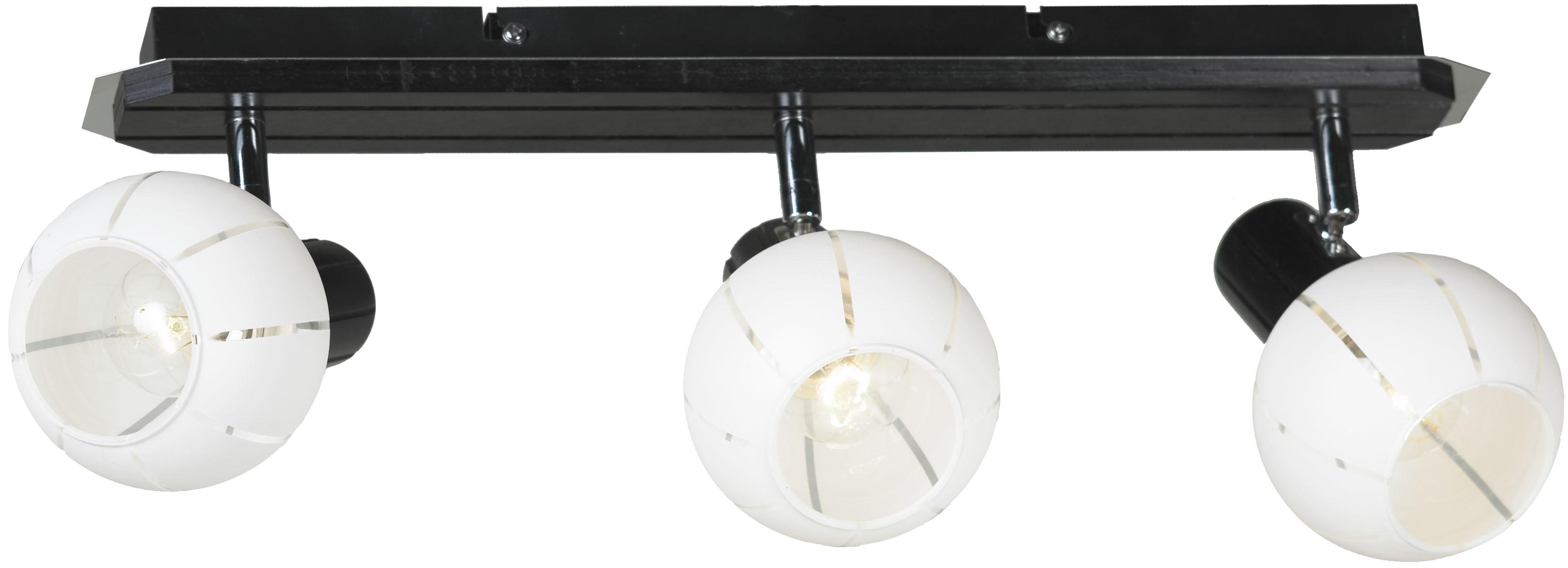Спот LussoleСпоты<br>Тип: спот,<br>Стиль светильника: модерн,<br>Материал светильника: металл, стекло,<br>Количество ламп: 3,<br>Тип лампы: накаливания,<br>Мощность: 40,<br>Патрон: Е14,<br>Цвет арматуры: хром,<br>Ширина: 130<br>