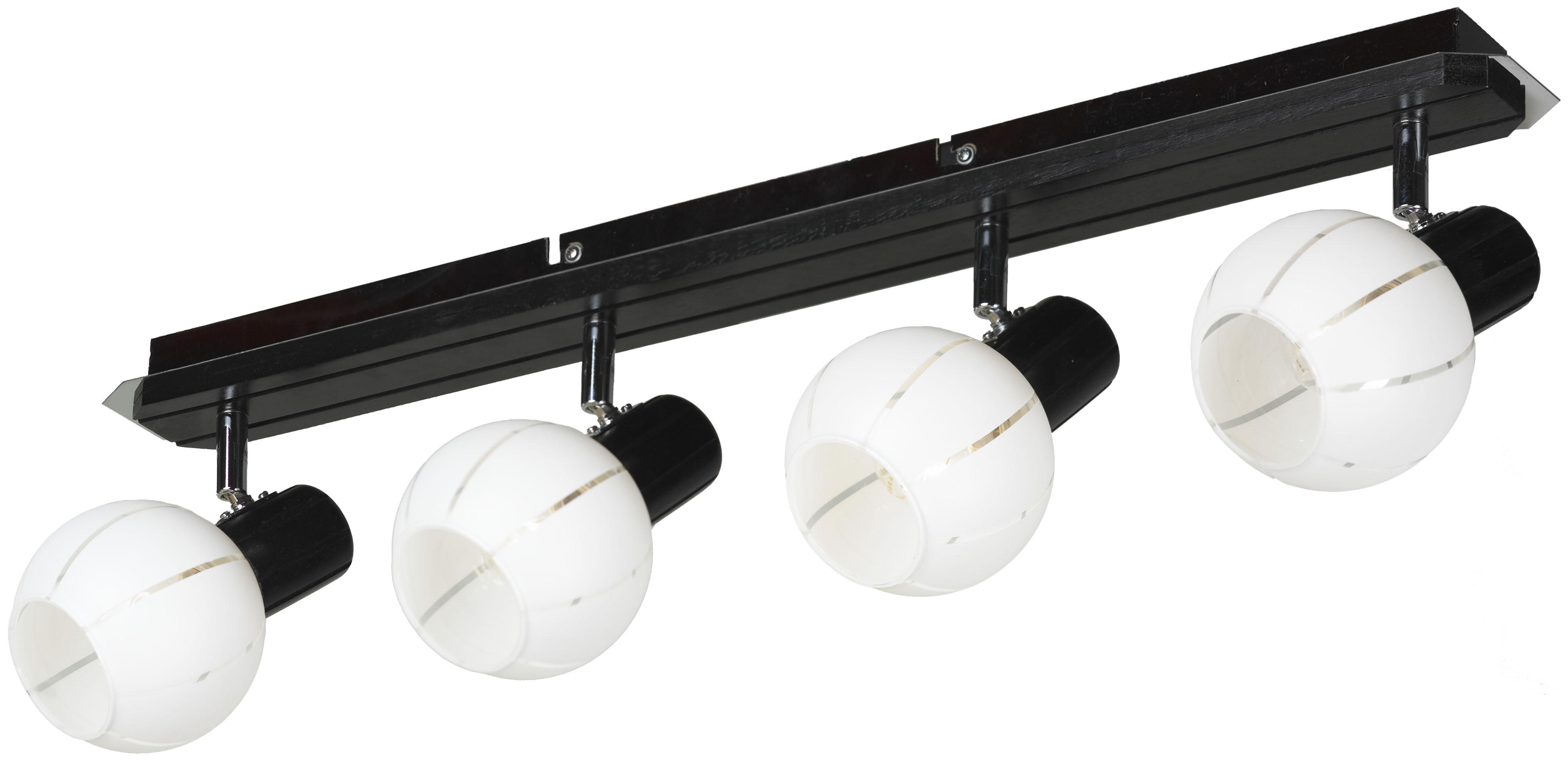 Спот LussoleСпоты<br>Тип: спот,<br>Стиль светильника: модерн,<br>Материал светильника: металл, стекло,<br>Количество ламп: 4,<br>Тип лампы: накаливания,<br>Мощность: 40,<br>Патрон: Е14,<br>Цвет арматуры: хром,<br>Ширина: 130<br>