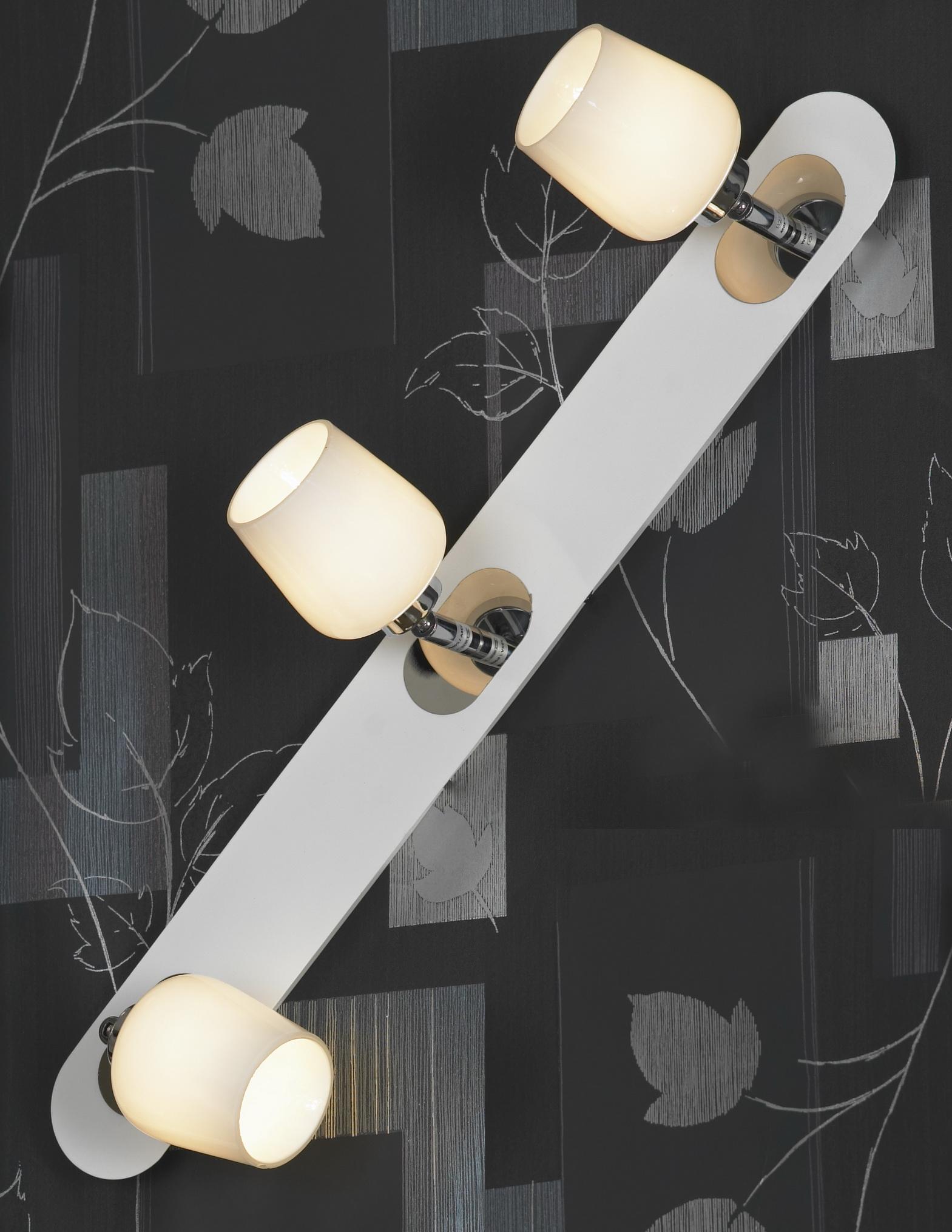 Спот LussoleСпоты<br>Тип: спот, Стиль светильника: модерн, Материал светильника: металл, стекло, Количество ламп: 3, Тип лампы: галогенная, Мощность: 40, Патрон: G9, Цвет арматуры: хром, Ширина: 130<br>